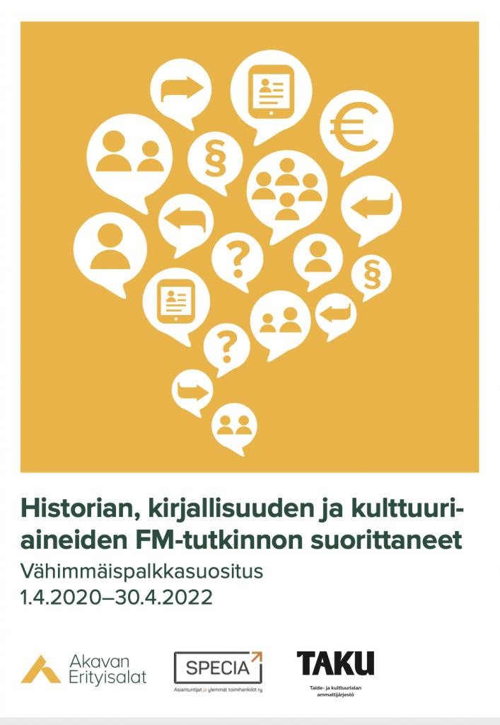 Historian, kirjallisuuden ja kulttuuriaineiden FM-tutkinnon suorittaneiden vähimmäispalkkasuositus